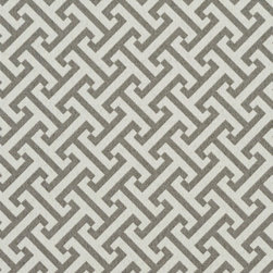 Grey and White Greek Key Geometric Outdoor Indoor Upholstery Fabric By The Yard - This upholstery fabric suitable for indoor and outdoor applications. The fabric is water, soil, mildew and fading resistant. It is also Scotchgarded for further protection. It is cleanable with warm water and soap. Uniquely Made in America!