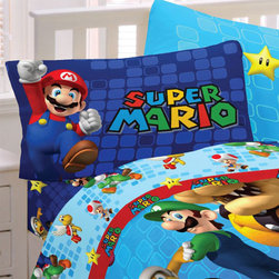Franco Manufacturing - Super Mario Twin Sheets Fresh Look Video Game Bedding - FEATURES: