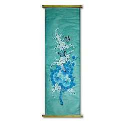 Oriental-Décor - Baby Blue - This lovely scroll painting is a menage of flowers and butterflies and is sure to add serenity to any room. Entirely hand-painted, this decorative art piece embodies the traditional Chinese scroll paintings that began 2,000 years ago.