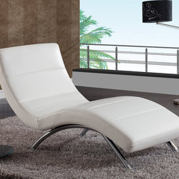 Global Furniture - Chaise in White Ultra Bonded Leather - Stretch out in comfort on this gently contoured chaise lounger. Upholstered in white leatherette fabric, this chaise seating combines a tailored feeling and contemporary flair effortlessly.