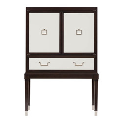 """Belle Meade - Belle Meade Bijou Bar - Belle Meade Signature's Bijou bar takes center stage in contemporary interiors. Behind silver leaf doors, glass shelves deliver the mid-century modern cabinet stylish function. 47""""W x 18""""D x 68.5""""H; Espresso and studio white finish; Silver leaf cabinet door and drawer; Pull-out shelf for serving/mixing; Adjustable glass shelves; Bronze mirror inside back panel; Polished chrome hardware"""