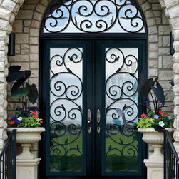 GlassCraft's Buffalo Forge Steel Double Door with Transom in Orvieto design - Buffalo Forge Steel Double Doors with Transom in Orvieto wrought iron grille design finished in Antique Black color