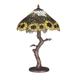 """Meyda - 23.5""""H Wild Sunflower Table Lamp - A field of sparkling country brown eyed, farm yellowsunflowers growing on stalks of summer bronzed greenleaves, edge these meyda original tiffany style skyblue tiled shade. Bring nature into your home with thishand cut and copper foiled stained glass shade settingatop a twisting branch table lamp base in a handapplied mahogany bronze finish. Bulb type: med bulb quantity: 1 bulb wattage: 100"""