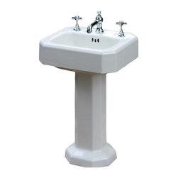 Kohler - Consigned 1938 Kohler Porcelain Cast Iron Pedestal Sink 20 X 18 Refinished - Measurements