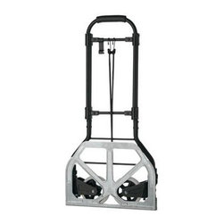"Conair - CTS Flat Fold Multi Use Cart - 150 lb. Flat Folding Multi-Use Cart holds up to 150 lbs. with two-position contoured comfort handle that adjusts to 35-1/2"" or 39"" high.  Folds flat to fit into airplane overhead compartment; Wheels automatically swing out and fold up when platform is lowered or raised; Extra-sturdy  lightweight  and folds to 2-1/4"" to store; Stable  smooth-rolling 4-3/4"" diameter wheels; Includes sturdy bungee cord.  This item cannot be shipped to APO/FPO addresses. Please accept our apologies."