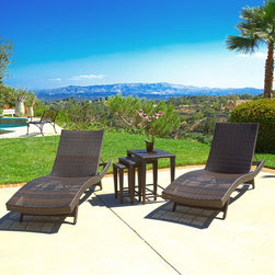 Christopher Knight Home - Christopher Knight Home Outdoor Brown Wicker 5-piece Adjustable Chaise Lounge Se - A summertime classic youll be certain to enjoy,this brown wicker outdoor chaise lounge set includes two adjustable lounge chairs and three nesting tables just right for holding drinks,books,and sunglasses. Perfect for patio or poolside use.