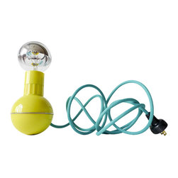"""EarthSeaWarrior - Retro Atomic Mid-Century Wobble Ball Light with Aqua Green Blue Color Cord - """"Weebles wobble, but they don't fall down."""" You could say the same of this delightful midcentury modern dumbbell lamp. Featuring an aqua textile cord and a silver bowl light bulb, this charming retro lamp also has a weighted ball base to keep the lamp from tipping over."""