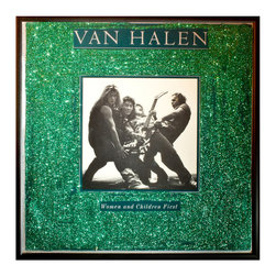 """Glittered Van Halen Album Green - Glittered record album. Album is framed in a black 12x12"""" square frame with front and back cover and clips holding the record in place on the back. Album covers are original vintage covers."""