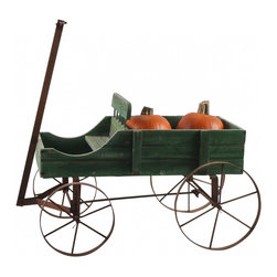 Iron Garden Wagon - I picked this up in San Francisco on a picking trip just for you!  This wagon features green distressed wood with a gorgeous patina, iron rusty wheels and handle and a wonderful spot for a beautiful plant or other garden elements.