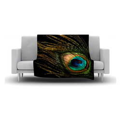 "Kess InHouse - Alison Coxon ""Peacock Black"" Fleece Blanket (50"" x 60"") - Now you can be warm AND cool, which isn't possible with a snuggie. This completely custom and one-of-a-kind Kess InHouse Fleece Throw Blanket is the perfect accent to your couch! This fleece will add so much flare draped on your sofa or draped on you. Also this fleece actually loves being washed, as it's machine washable with no image fading."