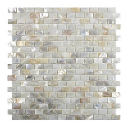 CNK Tile - Cream Brick Pearl Shell Tile - Our beautiful Mother of Pearl  tile in iridescence white and natural tones is on a mesh backing for  easy installations in many applications.