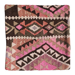 Hand Woven and Imported from Turkey - Beige and Mauve Antique Kilim Pillow Cover - Hand Woven from an Antique Turkish Kilim Carpet, this pillow cover has a Wool front and cotton back with Zipper entry.  Please note:  pillow insert not included.