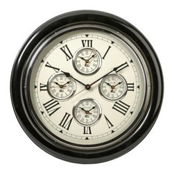 5 Country 22 in. Wall Clock - Be a jet-setter every time you glance at the time with the 5 Country 22 in. Wall Clock. Need to know the time in Paris? New York? Prague? Why not! This traditional clock is not only a lovely accent, it's a great conversation piece as well. The glossy black case and traditional look make it a real go-anywhere style.About IMAXWhat began as a small company importing copper flower containers in 1984 by Al and Faye Bulak has developed into one of the top U.S. import companies serving the At Home market today. IMAX now provides home and garden accessories imported from twelve countries around the world, housed in a 500,000 square foot distribution center. Additional sourcing, product development and showroom facilities in the USA, India and China make IMAX a true global source. They're dedicated to providing products designed to meet your needs. This is achieved through a design and product development team that pushes creativity, taste and fashion trends - layering styles, periods, textures, and regions of the world - to create a visually delightful and meaningful environment. At IMAX, they believe style, integrity, and great design can make living easier.
