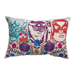 """KOKO - Mexico Pillow, El Santo Print, 13"""" x 20"""" - There is nothing better than a vibrant pop of color to liven up a room. The mix of imagery, from the Day of the Dead to the classic Mexican masks to those beautiful embroidered flowers, all work together like an artful collage. You could work this into an eclectic collection of throw pillows."""