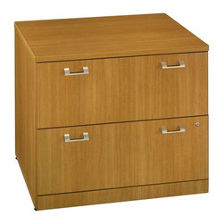 Bush Business - Quantum Modern Cherry Lateral File Cabinet - The Quantum modern lateral file cabinet securely stores files behind its elegantly two-drawer face.  Each drawer is furnished by two sleek silver-tone pulls.  The drawers are lockable, too, while the entire cabinet is finished in golden natural cherry tones. * 2 lateral files side by side accept 72 in. Hutch. Desk-height for side-by-side configuration. Lockable file drawers hold letter- or legal-size files. Ships fully assembled. 35.669 in. W x 23.386 in. D x 29.882 in. H
