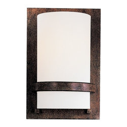 Minka Lavery - 342-357-PL 2-Light Wall Sconce in Iron Oxide with Etched Opal Glass - Features: