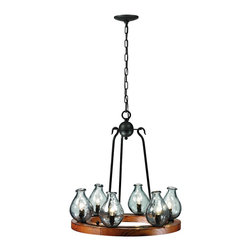 """Trans Globe Lighting - Trans Globe Lighting 70577 6 Light ChandelierBottles Collection - Capture rustic old world charm from natural elements in this hand blown glass vases wheel chandelier. Set upon a wood platform, each vase stands 7"""" tall. Charcoal finish hook-arm supports blend contemporary elements with ageless style. Glass vases are a deep aqua-marine blue and hammered into timeless beauty."""