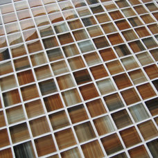 Contemporary Tile Cove Finishings Hand Painted 1x1 Glass Mosaic Tiles