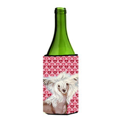 Caroline's Treasures - Chinese Crested Hearts Love Valentine's Day Portrait Wine Bottle Koozie Hugger - Chinese Crested Hearts Love and Valentine's Day Portrait Wine Bottle Koozie Hugger Fits 750 ml. wine or other beverage bottles. Fits 24 oz. cans or pint bottles. Great collapsible koozie for large cans of beer, Energy Drinks or large Iced Tea beverages. Great to keep track of your beverage and add a bit of flair to a gathering. Wash the hugger in your washing machine. Design will not come off.