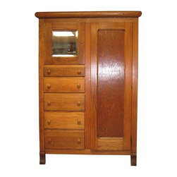 Antique Workman's Closet Armoire - Beautiful closet cabinet.  In excellent condition. Reconditioned with tung oil.  Key not available. Constructed about 1920.  Commonly used in homes that were built without closets in bedrooms.