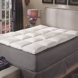 National Sleep Products - Premier Natural White Feather Baffle Box Featherbed Cover Set - Achieve the sleep of your dreams with this baffle-box,featherbed cover set. This set features a 230-thread count 100 percent cotton removable zip cover and hypoallergenic white feather down. The side gusset edges ensure even distribution of support.