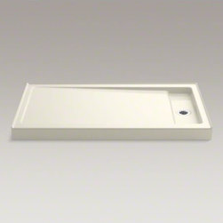 """KOHLER - KOHLER Bellwether(R) 60"""" x 34"""" single-threshold shower base with right center dr - The Bellwether 60"""" x 34"""" shower base features KOHLER enameled cast iron construction for unmatched durability and ease of maintenance. The right centered drain is ideally designed for new construction. Add a removable cover over the recessed drain for a finished look."""