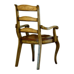 """Hooker Furniture - Vineyard Ladderback Chair - Arm - White glove, in-home delivery included!  This magnificent country French dining room collection uses the """"Vineyard"""" color palette for a subtle Eurpean two-tone effect.  Seat: 20"""" w x 21 1/8"""" d x 18 1/4"""" h  Arm Height: 26 5/8"""" h"""