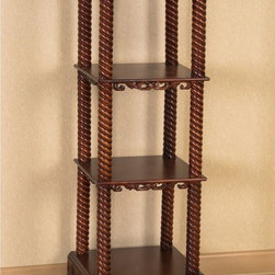 International Caravan - International Caravan Windsor Hand-carved Wood Square Stand - The rich oak finish of the hand-crafted wood stand adds a sense of wealth to any home. Hand-carved from hardwood,the furniture will spice up any room for many years to come. Three shelves provides enough room for other home decorations.