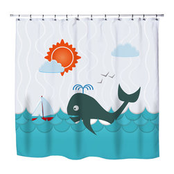"Surfer Bedding - Eco Friendly ""Whale Watching"" Kids Beach Shower Curtain - Kids Beach Shower Curtain from our Seaside Surfer Bedding and Bath Collection."