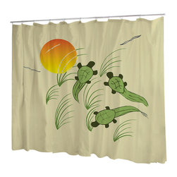 Uneekee - Uneekee Turtles Shower Curtain - Your shower will start singing to you and thanking you for such a glorious burst of design as you start your day!  Full printing on the front and white on the back.  Buttonhole openings for shower rings.