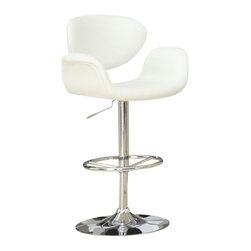 Monarch Specialties - Monarch Specialties Contemporary Swivel Barstool w/ Hydraulic Lift and Arms in W - The contemporary and unique design of these white bar stools are no doubt chic, thanks to sleek leather-look upholstery. The curved armrests and exquisitely cushioned seats are designed for your comfort. The sturdy frame and convenient fully circular foot rest are finished in an ever so fashionable chromed metal. A 360 degree swivel mechanism and easy-to-use hydraulic lift system will take you to new heights! What's included: Barstool (1).