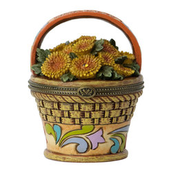 Jim Shore - Chrysanthemum Pot Covered Box - Take floral accent to the next level with this Swarovski-adorned covered box.   Includes box and lid 3.5'' H x 2.75'' diameter Iron / stone resin / Swarovski stone Imported