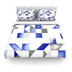 """Kess InHouse - Kira Crees """"Winter Geometry"""" White Blue Cotton Duvet Cover (Twin, 68"""" x 88"""") - Rest in comfort among this artistically inclined cotton blend duvet cover. This duvet cover is as light as a feather! You will be sure to be the envy of all of your guests with this aesthetically pleasing duvet. We highly recommend washing this as many times as you like as this material will not fade or lose comfort. Cotton blended, this duvet cover is not only beautiful and artistic but can be used year round with a duvet insert! Add our cotton shams to make your bed complete and looking stylish and artistic! Pillowcases not included."""