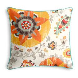 Orange & Aqua Suzani Outdoor Pillow - PRODUCT DETAILS: