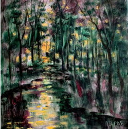 Sunny Woodland Stream 11 X 14  (Original) by Jean Vadal Smith Bentson - Sunset along a woodland stream.  Wonderful colors in shades of pine, olive , with deep merlot, dark brown, golden yellow in sun and reflected in stream. Loose brush work and some palette knife . Thanks for browsing.