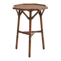 Ballard Designs - Bonair Octagonal Side Table - Coordinates with our Bonair Demilune & Tiered Table. Tightly woven rattan surface on top & shelves. The timeless Chinoiserie details of our Bonair Octagonal Side Table are based on drawings we found in a 150-year-old book on European furniture design. Perfect beside a favorite chair, it's hand crafted of natural rattan and mahogany with wrapped split-rattan joints for strength and texture. Bonair Side Table features: . .