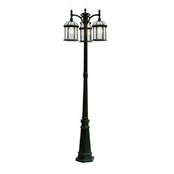 Filament Design - Outdoor Lighting. Cabernet Collection 3 Light 25.76 in. Outdoor Verde Green Pole - Shop for Lighting & Fans at The Home Depot. The cornerstone of the Cabernet Collection is elegance, and this 3 light pole lantern is no exception. Combining a sophisticated verde green finish with posh clear beveled shade, you will find no better way to highlight the charm of your home. With its superb quality, and affordable price this fixture is sure to tastefully indulge your extravagant side.