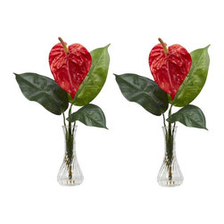 """Anthurium with Bud Vase Silk Flower Arrangement (Set of 2) - If a flower can make your mouth water, this luscious Anthirum is it! Leafy greens cascade outward from the """"cute as a button"""" bud vase, painting the perfect backdrop for the lush, multi-hued bloom. And since there are two of these in this set, you can put one on either side of a shelf, your counter, desk, or anywhere else some """"picture-perfect"""" color is needed. This item comes in a set of 2 pieces. Height= 14.5 in x Width= 9 in x Depth= 7 in"""