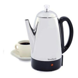 Focus Electrics - Percolator 12 Cup Stainless Steel - West Bend 12 Cup Stainless Steel Percolator. 2-12 cup service.  Warm modes keeps coffee warm.  Detachable cord for table convenience. Ready to serve light.  Coffee-level indicator in handle.  Heat resitant handle and base.