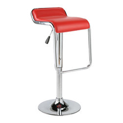 Eurostyle - Furgus Bar/Counter Stool-Red/Chrome - This handsome chair features a refined backrest and a sleek seating area that dips toward the glossy footrest. It also features a durable circular base, which makes swiveling nice and easy for you.