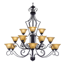 The Gallery - Large Foyer / Entryway Wrought Iron chandelier Lighting (Kitchen) - Wrought Iron chandelier. A great European tradition. Nothing is quite as elegant as the fine chandeliers that gave sparkle to brilliant evenings at palaces and manor houses across Europe. This beautiful chandelier from the Versailles Collection has 15 Lights. The frame is Wrought Iron, adding the finishing touch to a wonderful fixture. The timeless elegance of this chandelier is sure to lend a special atmosphere anywhere its placed! Please note this item requires assembly.