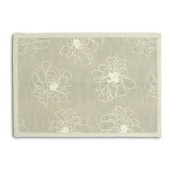 Ivory & Gray Embroidered Peony Tailored Placemat Set - Class up your table's act with a set of Tailored Placemats finished with a contemporary contrast border. So pretty you'll want to leave them out well beyond dinner time! We love it in this serenely sophisticated embroidery of ivory outlined blossoms on lightweight gray linen.