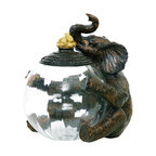 Sterling Industries - Sterling Elephant Glass Storage Jar - Pay homage to this gentle giant, which has long been a symbol of wisdom and nobility. For the global inspired, traveling theme decorating scheme display on any shelf or table in your home in the living room, family room, dining room, bedroom or den. The elephant glass storage jar by Sterling is functional and practical for use to store nuts, candies, buttons, craft items, paper clips and so much more. In the bathroom, display on your vanity and store cotton balls, q tips, or decorative soaps. This makes a very nice gift accessory as an ideal expression of your passion for the beauty inherent in nature's creation.