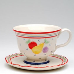 ATD - 3.75 Inch Multicolored Cottage Fruit Themed Cup and Saucer Set - This gorgeous 3.75 Inch Multicolored Cottage Fruit Themed Cup and Saucer Set has the finest details and highest quality you will find anywhere! 3.75 Inch Multicolored Cottage Fruit Themed Cup and Saucer Set is truly remarkable.