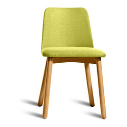 "Blu Dot - ""Blu Dot Chip Dining Chair, White Oak / Bright Green"" - ""No dash of flash needed. Pleasing comfort, timeless form, and a hardy build makes Chip a poised seating fix for any space. """