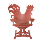 Cricket Forge - Rooster Rocker - Our Rooster Rocker is all about farmhouse charm. A great design, high quality craftsmanship and a hand painted finish gives this rocker all the chic without any of the shabby. Designed to look great on its own or when paired with our Hen Rocker, both gently sway to rhythm of the farm or the city. Hand painted in Rooster Red, the unique streaks and patterns are individual to each piece giving it that worn and weathered look without any deterioration due to exposure to the elements.