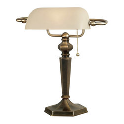 Kenroy - Kenroy 20615GBRZ Mackinley Banker Lamp - Mackinley and Chesapeake are welcome additions to chair or bedside.  These traditional families call back to colonial times with an ornate candlestick profile.  Substantial and solid, the swing arm versions are excellent reading lamps.