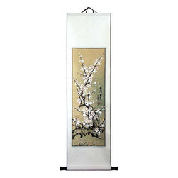 Oriental-Décor - Snow Blossoms in Spring - This beautiful Chinese scroll painting depicts snow blossoms in the early spring season. The Chinese and Japanese are very fond of blossoms and view them as one of the most attractive and desirable of all flowers. Add a piece of the Orient to your home with this magnificent hand-painted work of art.