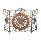 Aspire - Metal Fireplace Screen - This metal fireplace screen features wrought iron scroll designs throughout and a metal medallion decorating the center. The colors of the finish consist of gray, brown, and patina - giving the metal fireplace screen an antique appearance. Metal. Color/Finish: Brown. 35 in. H x 55 in. W x .5 in. D. Weight: 22 lbs.