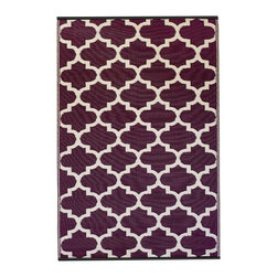 Fab Habitat - Tangier Rug, Plum & White (6' x 9') - Moroccan-inspired design perfection is yours when you employ this eco-chic rug as your floor covering. Elegantly crafted using Fair Trade principles, this all-weather rug is a design statement you can feel good about. Its sophisticated geometric pattern is created using high quality recycled woven plastic straws, and comes in a variety of sophisticated color combinations and sizes.